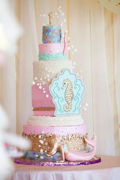 5-Tiered Mermaid Under the Sea Birthday Cake via Kara's Party Ideas | http://karaspartyideas.com