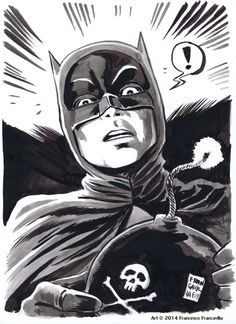 Batman '66 by Francesco Francavilla. Some days you just can't get rid of a bomb.