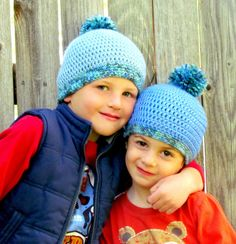 Blue Crochet Boys Hat with Pom Pom  Set of 2  by FairyOfColor, $33.00