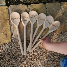 We thought this was a cute idea: reusing old wooden spoons to label the rows in your garden. It's directed toward children, but we think it could be fun for adults, too.