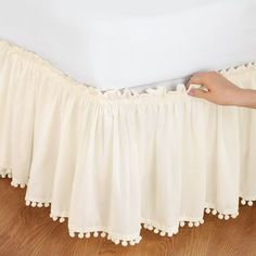 Pom Fringe Bedskirt from Collections Etc.cute, cheap option for girls bed skirt in white