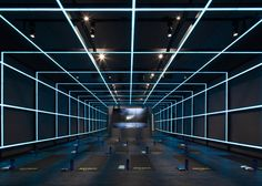 Coordination Asia uses neon grids to transform a Beijing art gallery into a gym for Nike.