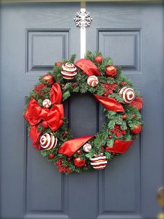 Red Christmas Wreath  Red and White Wreath by WreathsByRebeccaB, $52.00