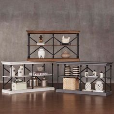 Weston Home Iron and Wood Media Stand Console - E296WH-05(3A)