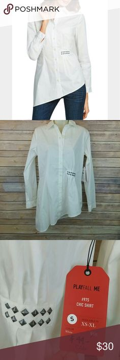 Cabi #975 Chic Shirt button down assymetrical hem Brand new with tags. 100% cotton. CAbi Tops Button Down Shirts