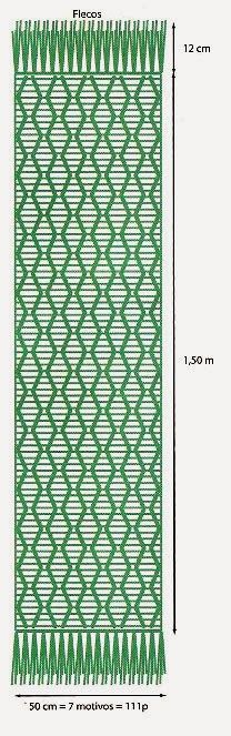 tejidos artesanales en crochet: chal largo con lineas onduladas