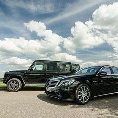 Dream team.  #MBphotocredit @willemdezeeuw for @GTspirit  #mercedes #benz #instacar #luxury #germancars #carphotography #carsofinstagram #gclass #sclass #S63 #amg Benz S Class, G Class, Mercedes Benz G500, Audi, Porsche, Mercedes S Class, Pipe Dream, Top Gear, Car Photography