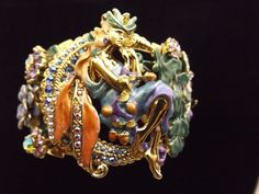 KIRKS FOLLY Enamel Wide Pave Crystal FAIRIES Cuff Bracelet #KirksFolly #Cuff