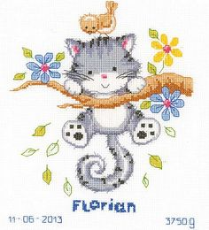 The bird on his head is great. Kitten Birth Sampler Cross Stitch Kit by Vervaco