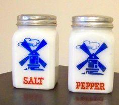Milk glass salt and pepper shaker.