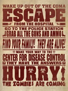 """Survival Zombie Apocalypse:  #Zombie Rules #3. (Or the plot for seasons 1 & 2 of """"The Walking Dead"""")"""