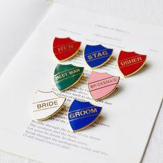 Old school wedding badges!! so cool :)