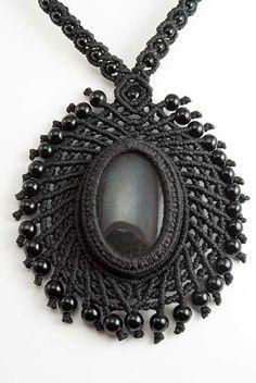 Ian Lander Jewelery : Macrame : Necklaces : Obsidian