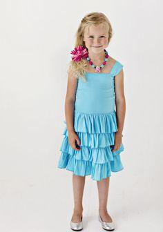 Lemon Loves Lime Girls Twirly Dress in Aqua $66.00
