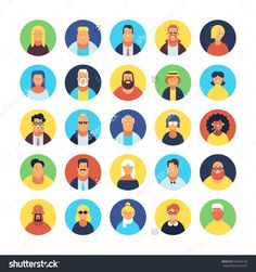 Set Of Avatar Flat Design Icons Stock Vector Illustration 502468138 : Shutterstock
