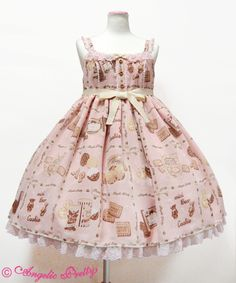 Angelic Pretty Cream Cookie Collection High Waist JSK /// ¥26,784 /// Bust: 83~105 cm Waist: 80~100 cm Length: 83 cm + 3 cm lace