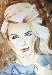 Finer Forms - The Art of Jani Finér: Ashley , watercolor, color pencils.