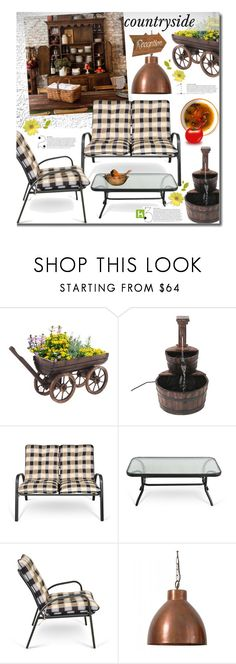 """LovDock Countryside Guest House"" by beebeely-look ❤ liked on Polyvore featuring interior, interiors, interior design, home, home decor, interior decorating, Fountain, Hare & Wilde, country and garden"