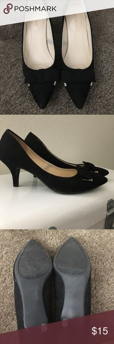 Faux Suede Pumps Black Faux Suede Shoes with Bow and Gold detail. The padding in the shoe makes them even more comfortable. Kelly & Katie Shoes Heels
