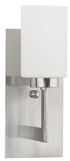 Brio Wall Light Vanity Sconce Brushed Nickel with Frosted Glass Shade One-Light Bathroom Fixture - Wall Mount Lighting - 13-inch high - Linea di Liara LL-WL151-BN