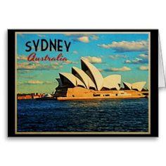 This vintage style design features the Sydney Opera House in Australia. Beautiful blue ocean and sky. Photo Postcards, Vintage Postcards, Vintage Images, Sydney Australia Travel, Visit Australia, South Australia, Retro Poster, Airlie Beach, Postcard Design