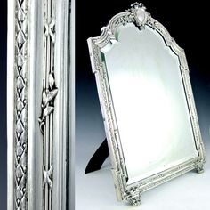 Beau Large Antique 19c French Sterling Silver Beveled Glass Table Top Dresser /  Vanity Mirror