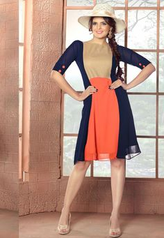#Blue And #Orange #Cotton #Matty And #Georgette #Kurti.  Blue And Orange Cotton Matty And Georgette Printed Work Kurti.Product colour & Patch Patta.  INR:1,188.00  With Exclusive Discounts  Grab:http://tinyurl.com/jtnfl3l