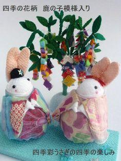 四季彩うさぎ 七夕飾り 織り姫うさちゃん・彦星うさくん 四季の花柄 鹿の子模様入り+七夕飾りのセット