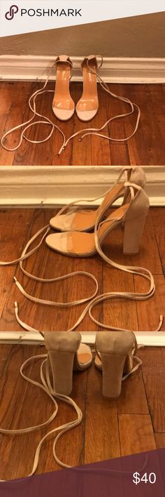 Lace up heels Cute suede lace up heels with clear strap! Brand new Super comfortable  Ordered wrong size Shoes Heels