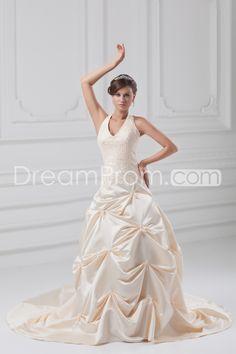 Wedding Dresses A-Line Halter Sleeveless Natural Lace-up Sweep/Brush TRAIN Taffeta Beading/Appliques