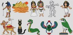 Collection of Egyptian cross stitch charts by Jenny Barton