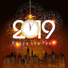 Illustration about Fireworks display for happy new year 2018 above the city with clock vector. Illustration of poster, clock - 87843180 Happy New Year Png, Happy New Year Vector, Happy New Year Images, Happy New Year Wishes, New Year Greetings, New Year's Eve Cocktails, New Years Countdown, New Years Eve Decorations, New Year Pictures
