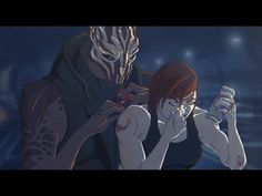 """""""If you're going to pick a fight with a turian biotic, I recommend something a little more involved than a single fist to the face. I'm not going to let him talk to me - ow! Mass Effect, Things To Come, Ads, Anime, Image, Cartoon Movies, Anime Music, Animation, Anime Shows"""