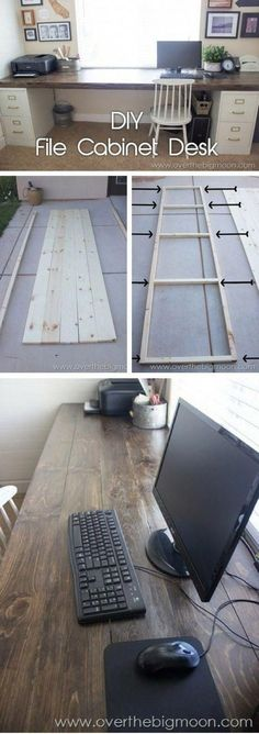 How to build a # DIY desk from filing cabinets and wooden planks., How to build a # DIY desk from filing cabinets and wooden planks. # file barriers # build # a # wooden planks. Diy Bureau, Bureau Design, Home Office Design, Office Decor, Diy Office Desk, Office Table, Hone Office Ideas, Office Setup, Small Office