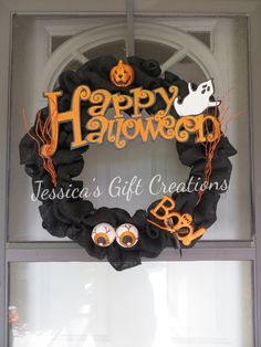 Happy Halloween Burlap Wreath/Boo/Door Decor/Decoration/Home Decor/Spooky/Ghost/Perfect Gift for any Occasion/Ready to Ship by JessicasGCreations on Etsy