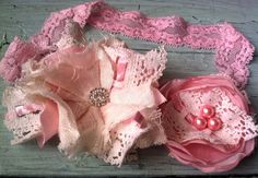 Pink & Ivory Baby Girl Headband Newborn by RhysandRaesCreations, $17.25