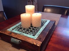 Hometalk :: Candle Tray from Upcycled Vintage Floor Heating Grate