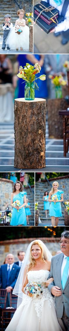 Love the tall tree/wood aisle markers or tables if you will -- mason jars wedding centerpieces