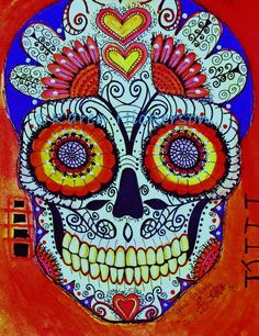ORIGINAL PAINTING Mexican Day of the Dead Sugar by KarenHickerson