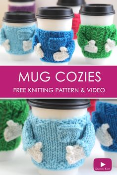 Learn how to Knit Coffee Cozy Sweaters: Receive Free Knitting Pattern + Video Tutorial by Studio Knit via @StudioKnit