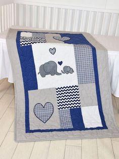#baby_blanket #navy_blanket #elephant_bedding Elephant Baby Blanket Navy Gray Crib Quilt by Customquiltsbyeva