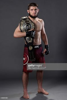 Khabib Nurmagomedov of Russia poses for a portrait backstage after his victory over Al Iaquinta during the UFC 223 event inside Barclays Center on April 2018 in Brooklyn, New York. (Photo by Mike Roach/Zuffa LLC/Zuffa LLC via Getty Images) Martial Arts Moves, Mixed Martial Arts, Sports Celebrities, Celebs, Professional Boxing, Mma Fighting, Boxing Champions, Ufc Fighters, Mma Boxing