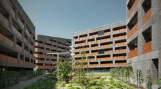 Completed in 2012 in Bolzano, Italy. Images by Andrea Martiradonna. The project starts with a competition publicly announced by the Social Housing Institute based on a Detailed Plan for the residential expansion. Social Housing Architecture, Garden Architecture, Residential Architecture, Council House, Best Architects, Story House, Condominium, The Expanse, Multi Story Building