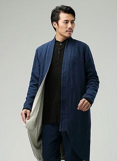 Blue Commoner Chinese Style Men's Windbreaker Loose Casual Zen Chinese Robe via Asia-Sale Best Tai Chi, Kung Fu Clothing