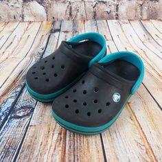 0706a24957e540 Children s Crocs Crocband Sandals Size 6 7 Black   Turquoise Boys Girls  Clogs  Crocs  Sandals