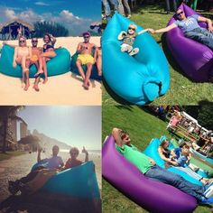Amazon.com : Outdoor Inflatable Lounger, SunbaYouth Nylon Fabric Beach Lounger Convenient Compression Air Bag Hangout Bean Bag Portable Dream Chair (Black) : Sports & Outdoors