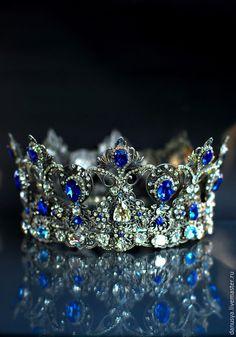 """Диадемы, обручи ручной работы. Ярмарка Мастеров - ручная работа. Купить Высокая корона """"Royal sapphire"""". Handmade. Корона"""