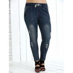 Drawstring Plus Size High Waist Distressed Jeans