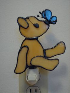 Stained Glass Teddy Bear Nightlight by maddy7 on Etsy, $12.00