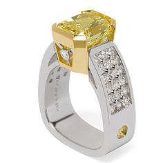 Paragon Pave Collection - 4.41ct Fancy Yellow Radiant Cut Diamond accented by Round Brilliant Cut Diamonds set in Platinum and 18K Yellow Gold.  gorgeous